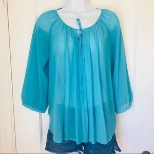 Bellatrix Teal Sheer Pleated Front Tie Blouse